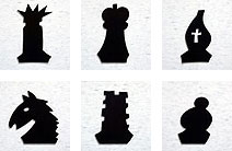 "Chess Set with Playable Rubber Pieces on 8'-0"" X 8'-0"" Black And White VCT Tile Floor"